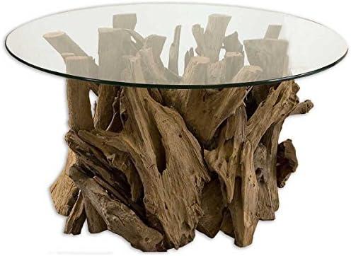 Uttermost Driftwood Glass Top Cocktail Table, Teak