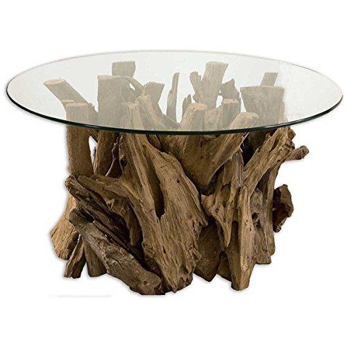 Uttermost 25519 Driftwood Glass Top Cocktail Table, Teak