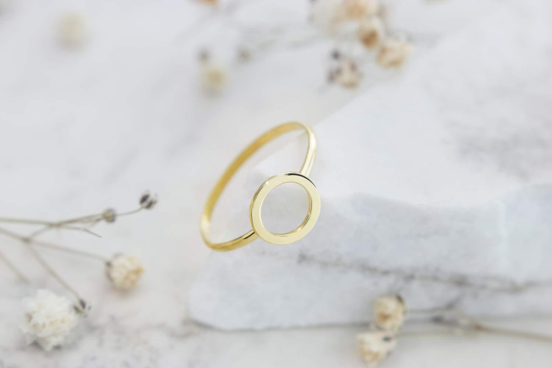 7845e33daaf5e Amazon.com: Gold Circle Ring, Small Karma Band, 14K Gold Ring ...