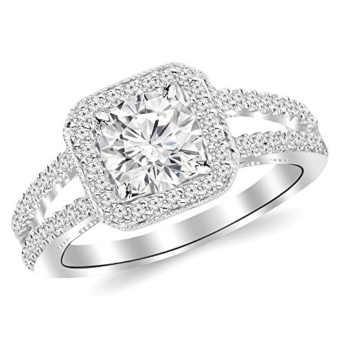 1.97 Cttw 14K White Gold Round Cut Designer Split Shank Halo Style With Milgrain Diamond Engagement Ring with a 1.5 Carat J-K Color I2 Clarity Center by Chandni Jewels