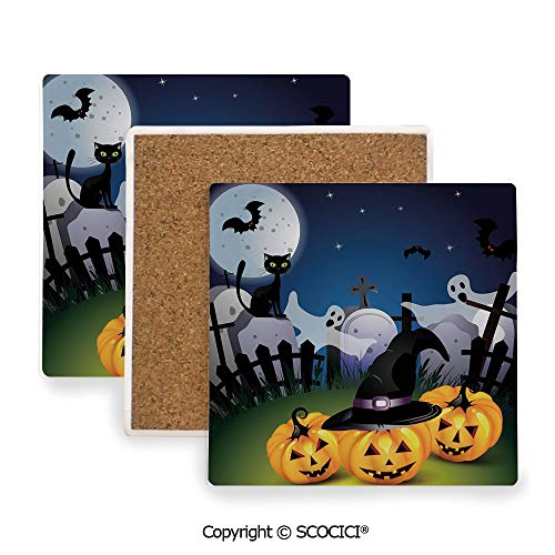 Ceramic Coasters with Cork Base, Prevent Furniture from Dirty and Scratched, Suitable for Kinds of Mugs and Cups,Halloween,Funny Cartoon Design with Pumpkins Witches Hat,3.9