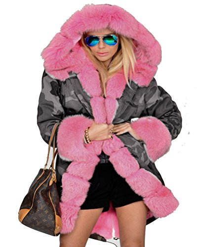 Camouflage Warm Winter Coats Faux Fur Jacket Parka Overcoat (M, Grey Pink) (Camouflage Hooded Parka)