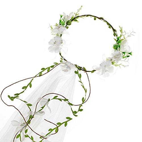 Floral Fall Adjustable Bridal Flower Garland Headband Flower Crown Hair Wreath Halo F-83 (D-White Flower Veil)