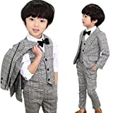 DREAMOWL 5Pcs Toddler Boys Gray Plaid Suits Wedding Party Tuxedo Jacket + Vest + Pants+Shirt+Bow tie Sz 2T-8 (2-3 Yrs)