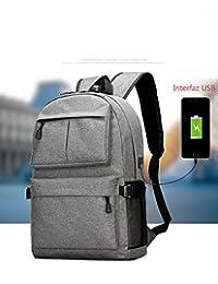 Mochila para computadora portátil, euateo, mochila escolar de 15 y 39,6 cm con puerto de carga USB Bandolera para hombre y liviano, grande (gris)