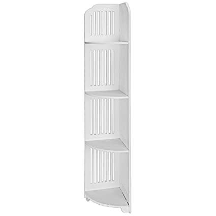 Surprising Jawm 4 Tier Waterproof Bathroom Corner Storage Unit Shelf Wood Plastic Composite Corner Shelf Bedroom Livingroom Display Free Standing Rack White Home Interior And Landscaping Ferensignezvosmurscom