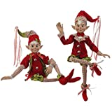 RAZ Elves 30'' Posable Elf Holly and Houndstooth Collection - Pair of 2
