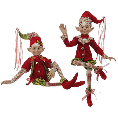 RAZ Elves 30'' Posable Elf Holly and Houndstooth Collection - Pair of 2 by Raz Imports