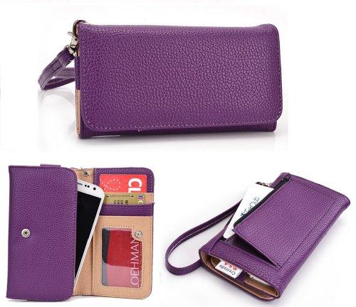 EXXIST® Classic Metro Series.. Women's vegan patent leather Clutch for ZTE Easy Touch 4G (Color: Purple / Purple) -ESMLMTU1
