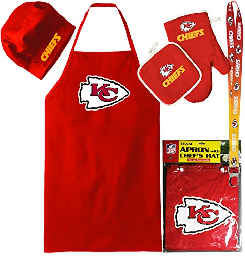 Kansas City Chiefs Apron (Kansas City Chiefs ( Apron Set with Oven Mitt and Ombre Lanyard ) Back Yard Tailgate BBQ Set NFL)