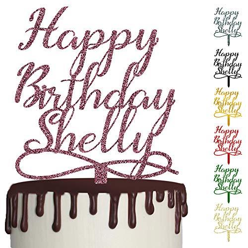 !RAKRISA Personalized Happy Birthday Cake Topper | 1 Pc 6x8 Inch Wooden Custom Happy Birthday Party Cake Decoration (D1)