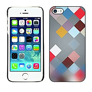Soft Silicone Rubber Case Hard Cover Protective Accessory Compatible with Apple iPhone? 5 & 5S - plaid abstract pattern blur