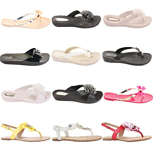 shoefashionista Ladies Toe Post Flat Bow Diamante Flip Flops Summer Jelly Shoes Sandals Size Style 4 - Black bvWG0