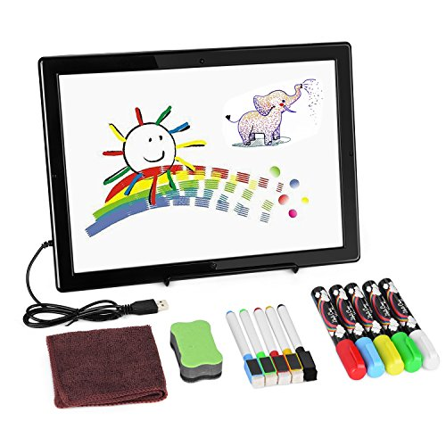 Double-Sided LCD Writing Board, AGPtek Digital Writing Pad Magnetic Dry Erase Board (12.8 x 9.5inch) with Marker Pens & Stand, Ideal for Kids & Adults, Home, School, Office Use by AGPTEK