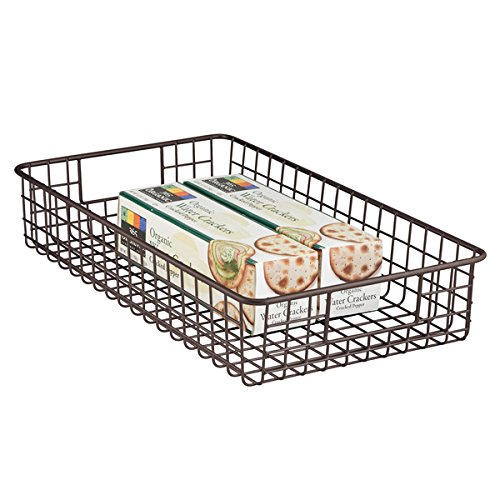 mDesign Cestello cucina - Cestino con prese da usare come cesto contenitore multiuso - Per armadio e scaffali - Pratico da impilare - Colore: bronzo MetroDecor 5442MDK