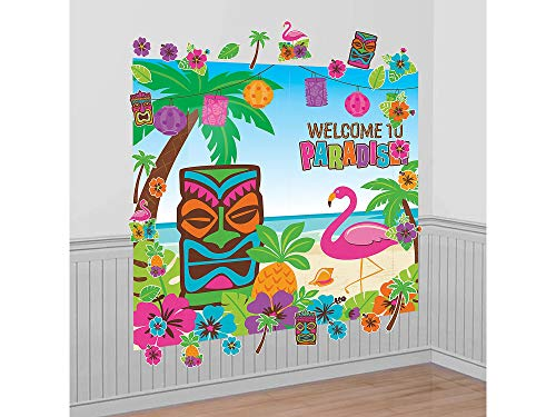 Hawaiian Summer Luau Party Paradise Scene Setter Decorating Kit, 32 Pieces, Paper, Multicolor, 2 Plastic Sheets, 30 Printed Paper Cutouts by Amscan