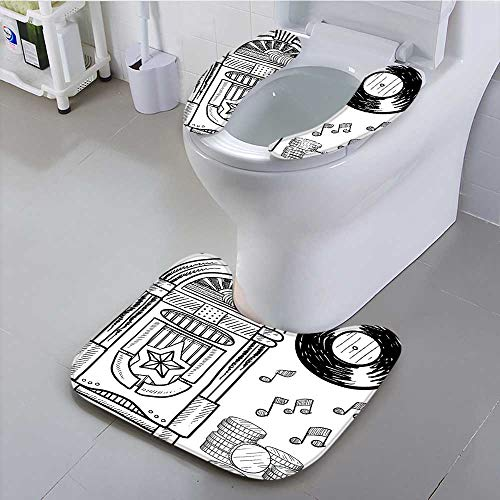 aolankaili Toilet Cushion Suit Style Retro Music Box Notes Coins Long Play Vintage Sketchy Artwork Black and Non Slip Comfortable