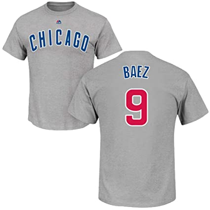 top fashion 0dfdf f5c4f Outerstuff Javier Baez Chicago Cubs Gray #9 Youth Name & Number Road Player  T-Shirt
