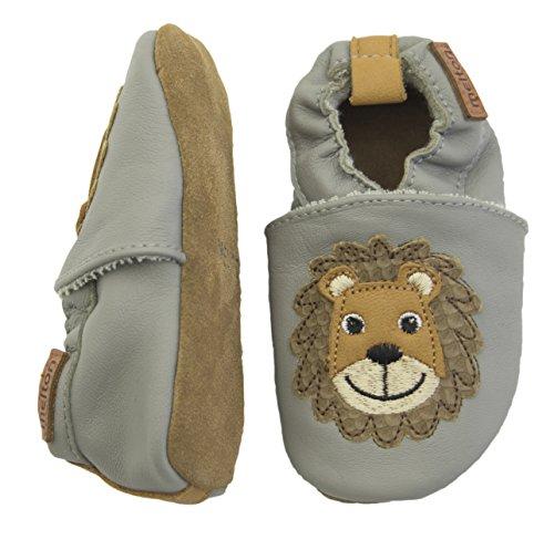 Melton Krabbelschuh Lion Aus Weichem Leder - Zapatillas de casa Bebé-Niñas Mehrfarbig (Light grey)