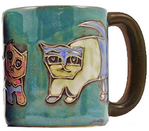 Mara Stoneware Mug - Cats - Green - 16 oz