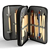 Blisstime Set of 30 Clay Sculpting Tool Wooden Handle Pottery Carving Tool Kit Carrying Case Apron