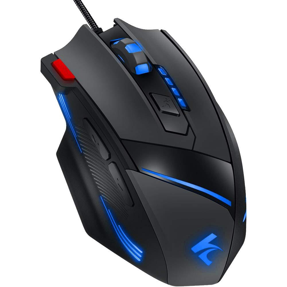 Ratón RGB para Gamers, Xergur 6 DPI Modo Programable de 8 Botones, Definición de 16 Millones de LEDs, Editor de Macros con Compatibilidad de Ratio de ...