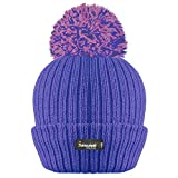 LADIES WOMENS RIBBED THINSULATE LINED BOBBLE POM POM HAT