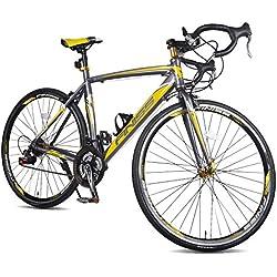 Merax Finiss Aluminum 21 Speed 700C Road Bike Racing Bicycle Shimano (54 cm, Yellow & Gray)