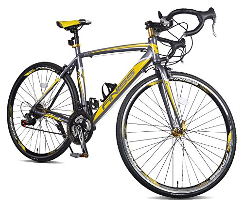 Merax Finiss Aluminum 21 Speed 700C Road Bike Racing Bicycle (Yellow & Gray, 56 cm)