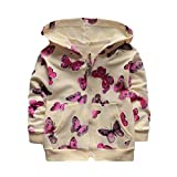 Butterfly Print Baby Clothes,WeiYun Cute Baby Infant Girls Autumn Winter Hooded Coat Cloak Jacket (6~12Months, Beige)