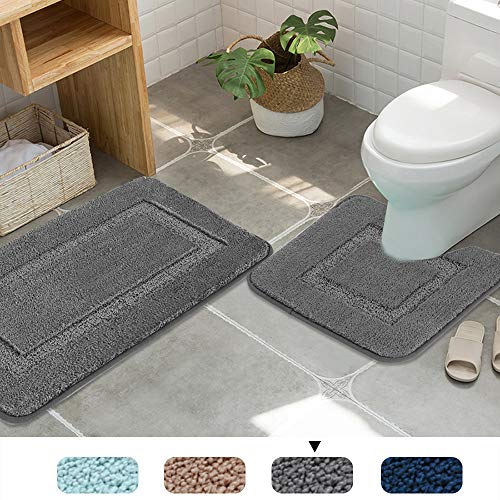 Upgraded Non-Slip Push Microfiber Bath Rugs Floor Mat Ultra Soft Washable Bathroom Dry Fast Water Absorbent Rugs Non Skid, 2 Pack, 20