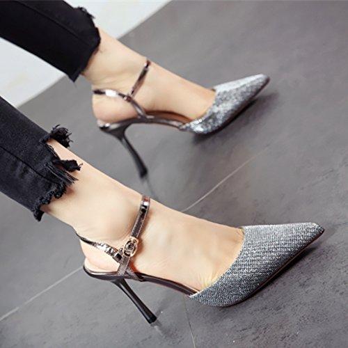 silvery sandali scarpe alta tacco tacco di YMFIE elegante con colleghe e estate con Onorevoli stile sharp alta moda Europeo fnSUq