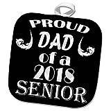 3dRose RinaPiro Graduation Sayings - Proud Dad of 2018 Senior. Black and white. - 8x8 Potholder (phl_282824_1)