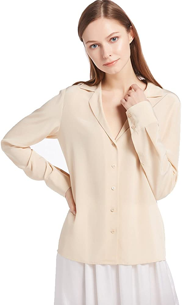 1920s Style Blouses, Shirts, Sweaters, Cardigans LilySilk Womens 100% Silk Blouse Long Sleeve V Neck Ladies Shirt Silk $89.99 AT vintagedancer.com