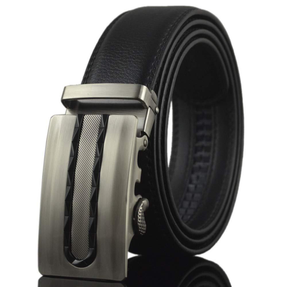 DENGDAI Leather Belt Mens Automatic Buckle Belt Casual Pants Belt Length 110-130cm