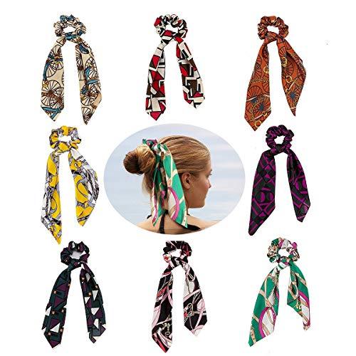 (8 Pack Hair Scrunchies Scarf Satin Silk Hair Scarf Band Hair Rope Ties Rope Ribbon Elastic Hair Bows Wraps Ponytail Holder for Women Girls Teens (Satin Hair Scrunchies #1))