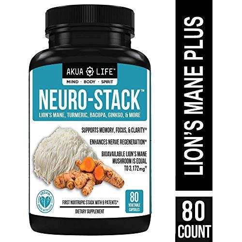 Organic Lion's Mane Mushroom Capsules- +26 Additional Nootropics - Vegan Nootropic Stack & Absorption Enhancers for MAX Focus, Anxiety Relief, Nootropic Brain Supplement,Turmeric Curcumin,Bioperine