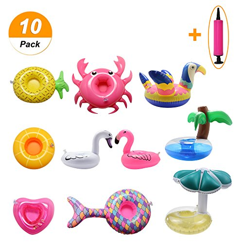 atable Drink Holder, Floating Cup Coasters with Air Pump for Kid or Adult Pool Beach Party Birthday Bash Caribbean Trip (Nice Holder)