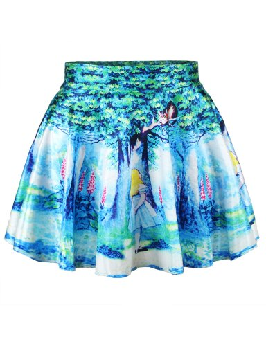 Women's Cartoon Digital Print Stretchy Flared Pleated Casual Mini Skirt,One Size,Alice in Wonderland]()