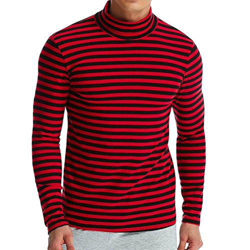 Clearance Deals Men Tops vermers Men's Autumn Winter Striped Turtleneck Long Sleeve T-Shirt Blouse(M, Red) by vermers