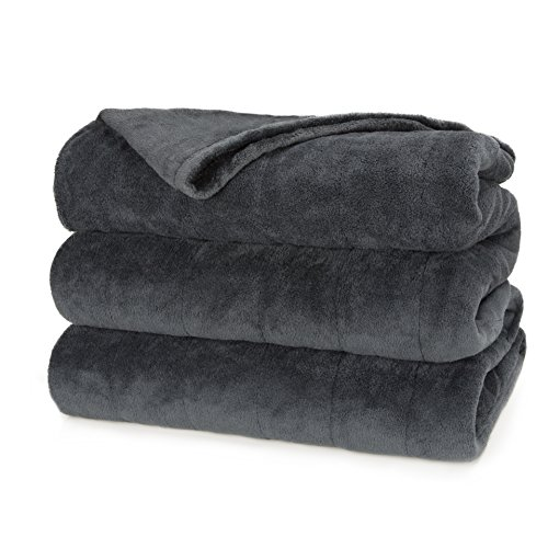 Sunbeam Heated Blanket | Microplush, 10 Heat Settings, Slate, Queen