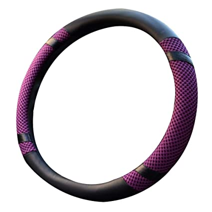 Universal 15 Inches Anti-Slip Microfiber Leather and Viscose Purple Warm in Winter and Cool in Summer Odorless Steering Wheel Cover Breathable