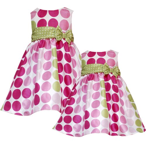 Rare Editions Baby/INFANT 12M-24M PINK LIME-GREEN MULTI DOT SHANTUNG Special Occasion Wedding Flower Girl Party Dress