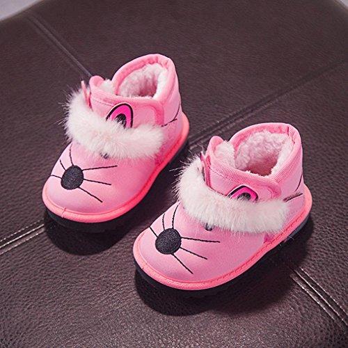 Upxiang Kinder Jungen und Mädchen Schnee An-Slip Stiefel Ferse Flashed Kleinkind Cartoon Fell warme Baby Jungen Mädchen leuchtende Schuhe Sneakers Stiefel Rosa