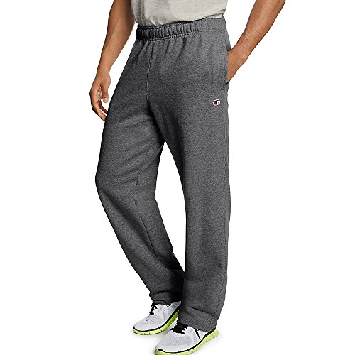 Champion Men's Powerblend Open Bottom Fleece Pant_Granite Heather_XL