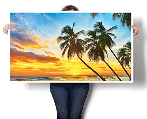 Mangooly Art Wall Calendar 2019 Fairy Sunset Over The Sea with The Palms on The Beach at a Caribbean Island in Barbados Horizon Fabric Cloth Rolled - Barbados Calendar