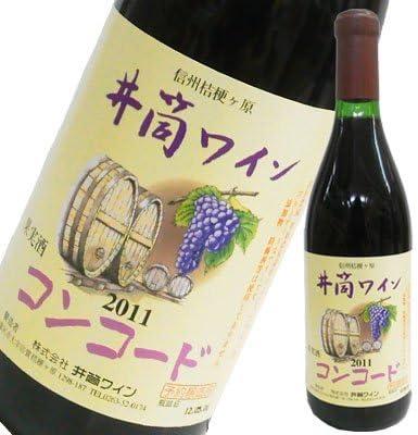 井筒ワイン 無添加コンコード・赤のラベルとボトル