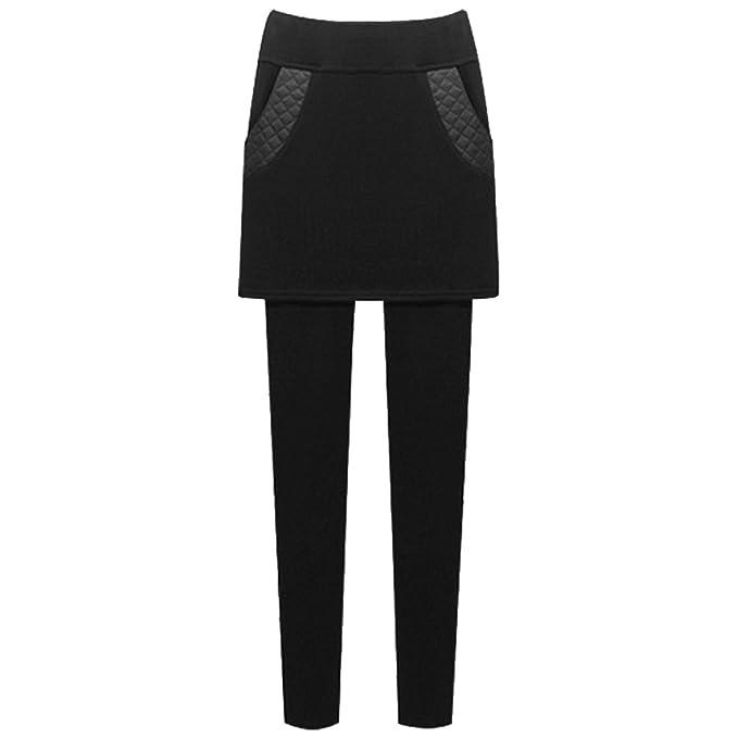 YAANCUN Leggings con Falda de Terciopelo Leggings Largos Elegantes Casuales Invierno Moda Pantalones con Bolsillo para