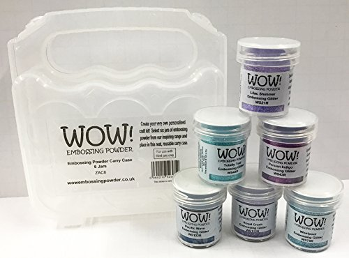 WOW! Embossing Powder and Glitter in Ocean Blues Teal Purples 6-Pack Kit and Clear Carrying Case - Bundle 7 ()