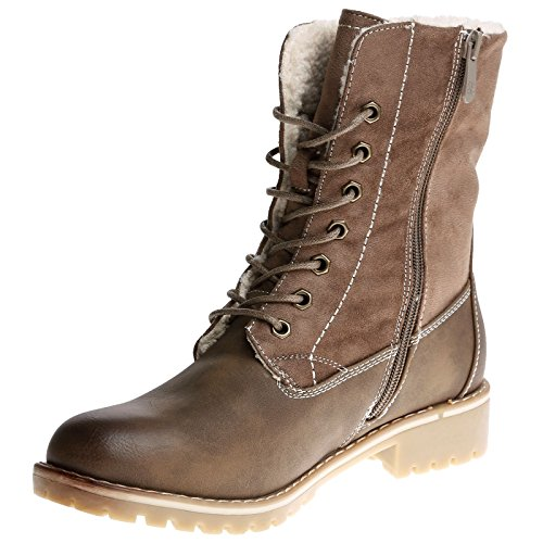Feet First Fashion Zarya Womens Low Heel Lace up Fleece Lined Ankle Boots Khaki 52OP633Jl